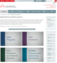 Screenshot of ACGME's new Single GME web page