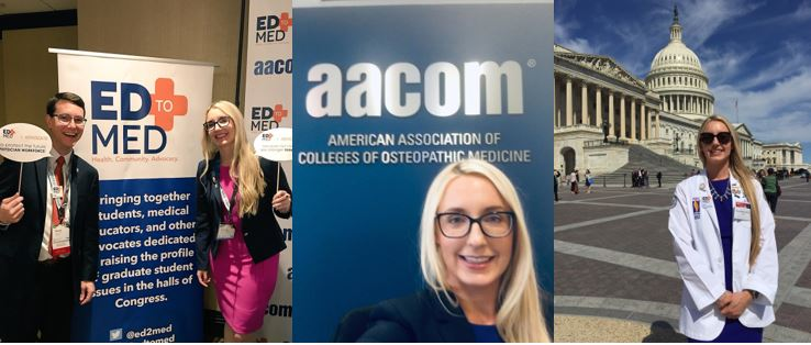 Farrah at the Ed to Med booth, infrom of an AACOM poster and on Capitol Hill