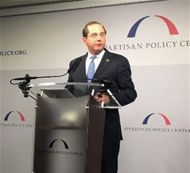 HHS Secretary Alex Azar at the podium
