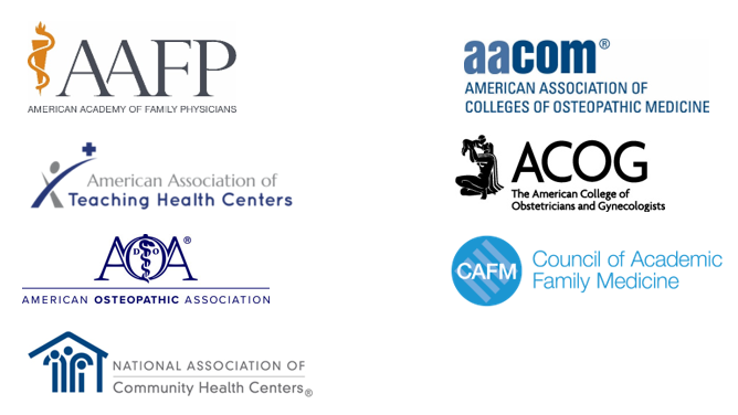 Logo collage - AAFP, AACOM, AATHC, ACOG, AOA, CAFM and NACHC