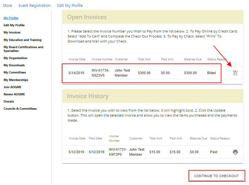 Screenshot of Open Invoice page