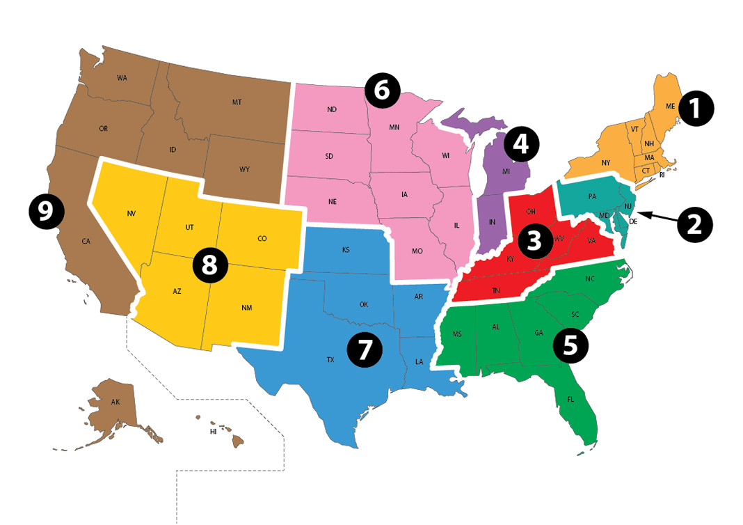 AODME Membership Regions map