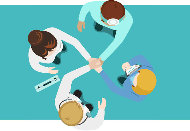 4 medical professionals collaborating
