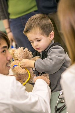 Student giving check-up to a teddy bear