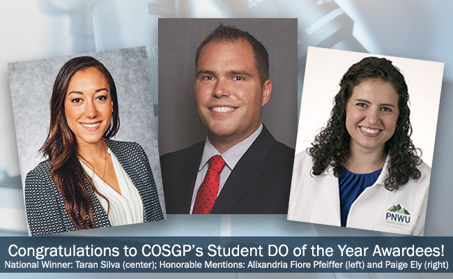 Congratulations to COSGP's Student DO of the Year Awardees!