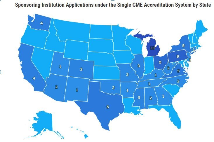 Map of US showing # of sponsoring institution applications under single GME accreditation system by state.